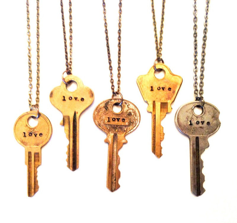 Hand-Stamped Personalized Key Necklace
