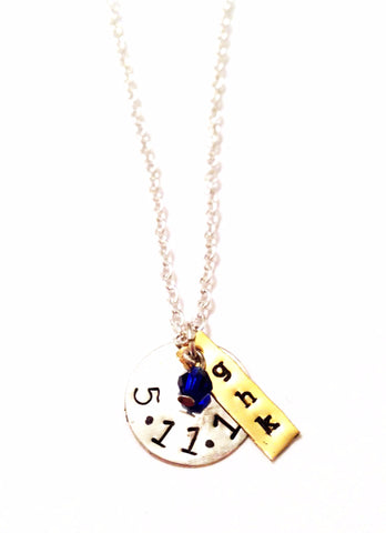 Layered Initial Hand-Stamped Necklace