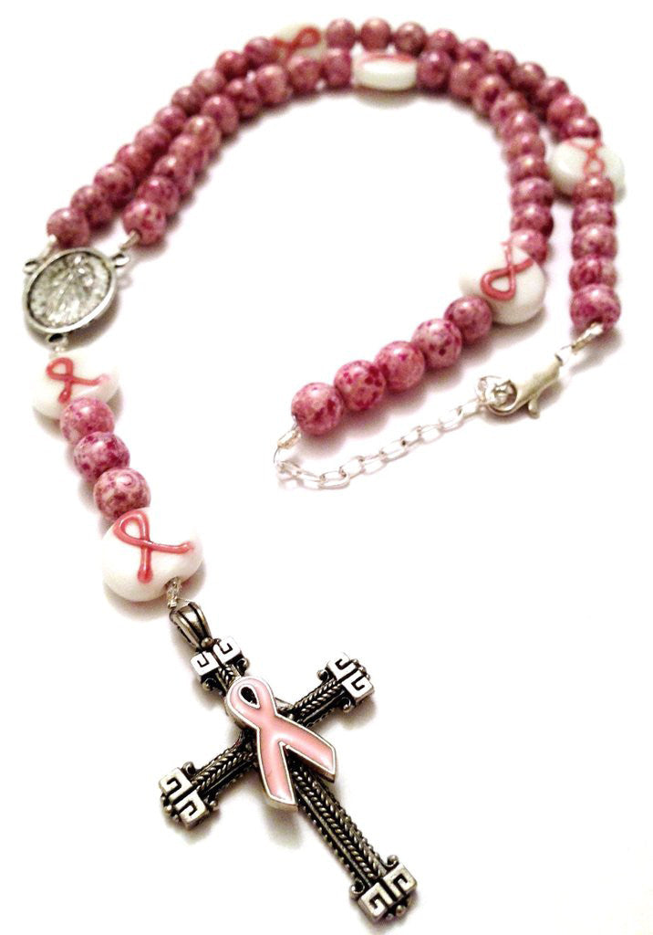 Breast Cancer Awareness Rosary Necklace