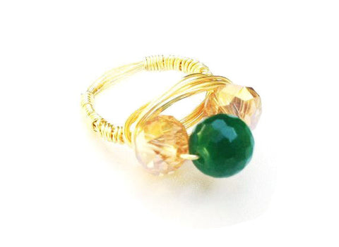Champagne and Emerald Crystal Ring