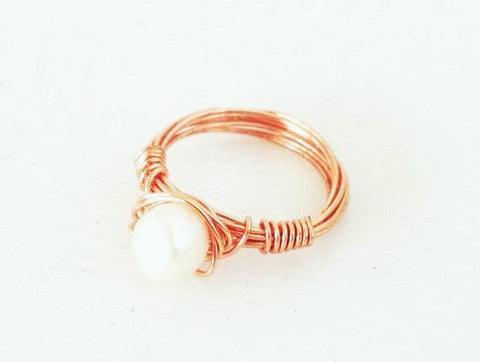 Delicate Rose Gold Freshwater Pearl Ring
