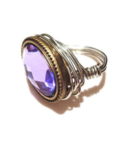 """Royal Purple"" Glass Ring"
