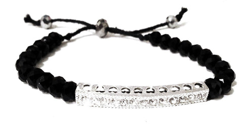 Silver Bar and Black Crystal Bracelet
