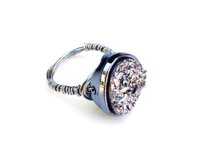 Gunmetal Grey Druzy Ring