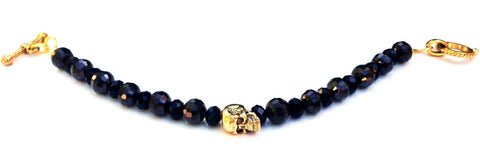 Small Black & Gold Skull Bracelet