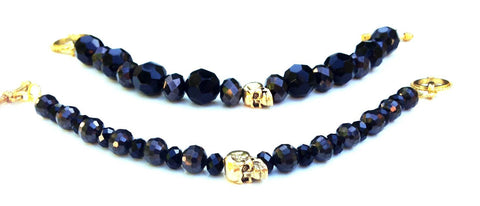 Large Black & Gold Skull Bracelet