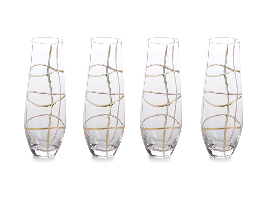Groove Stemless Champagne Flute Set