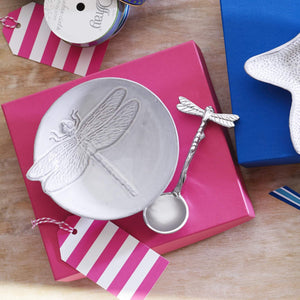 Dragonfly Ceramic Canape Plate with Dragonfly Spoon