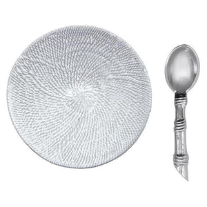 Mustique Ceramic Canape Plate with Rattan Spoon