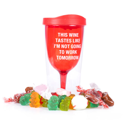 WORK TOMORROW CANDY FILLED WINE TUMBLER