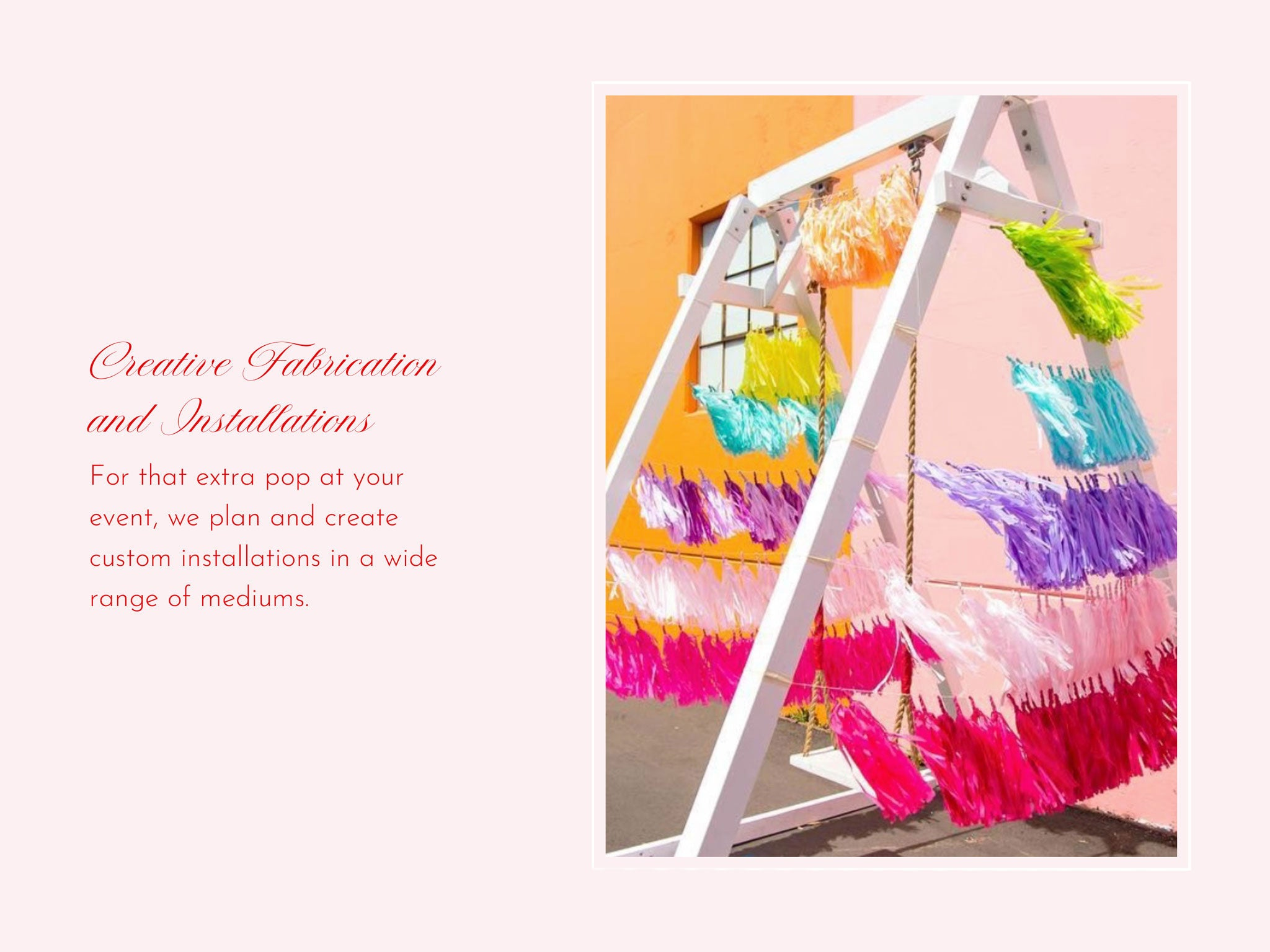 Brand Photo Ops and backdrop designs rainbow tissue garland on swing by Bonjour Fete