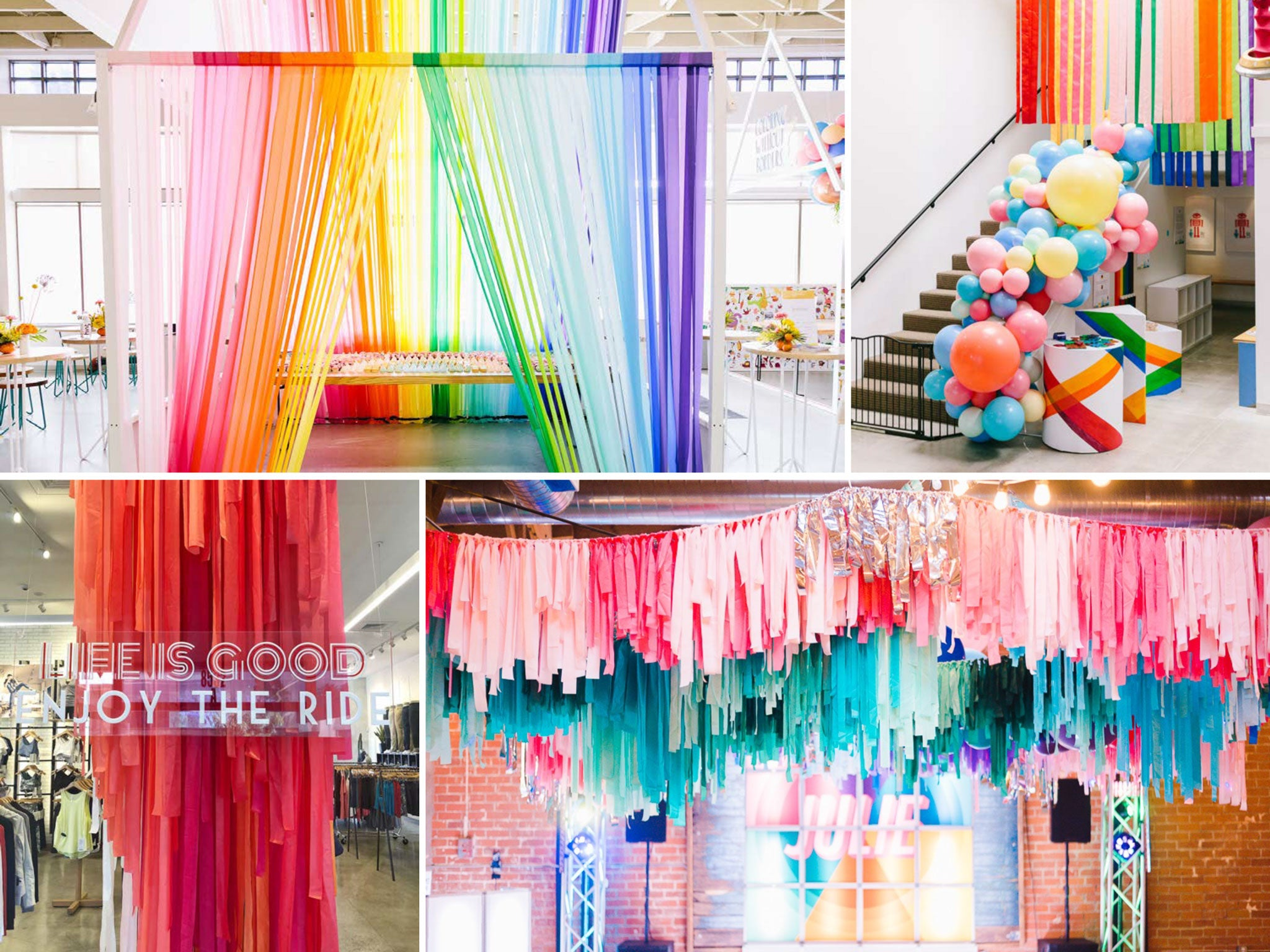 large scale fringe garland and creative installation backdrops by bonjour fete