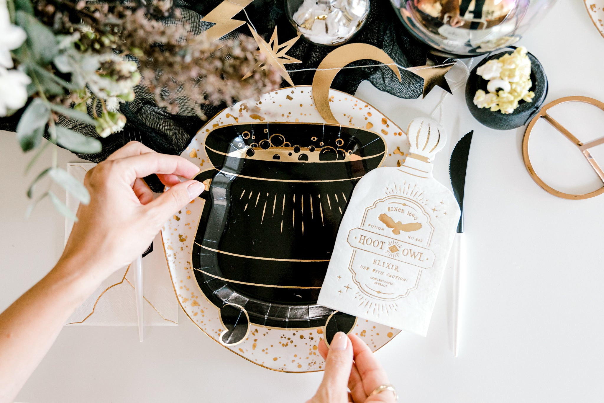 Setting the table with a Harry Potter themed cauldron plate