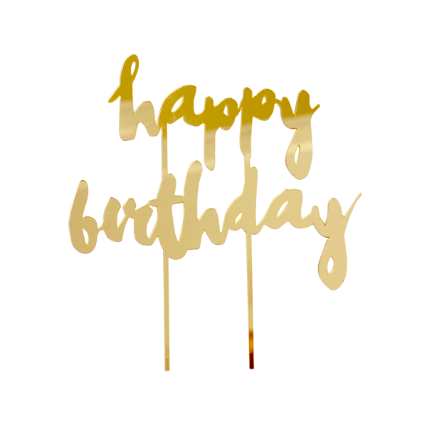 GOLD MIRROR HAPPY BIRTHDAY CAKE TOPPER - Bonjour F'éte