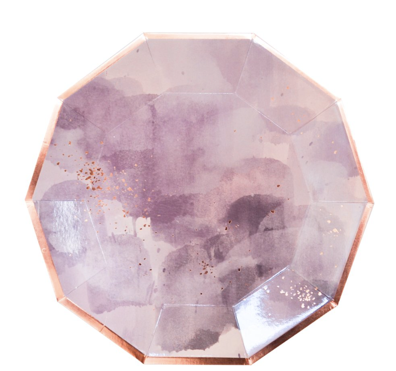 AMETHYST PURPLE AND ROSE GOLD LARGE PLATES