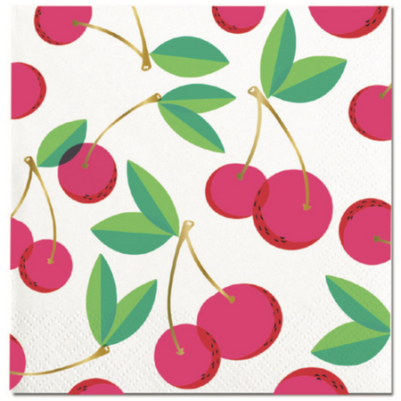 CHERRIES BEVERAGE NAPKINS