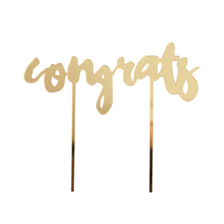 GOLD MIRROR CONGRATS CAKE TOPPER