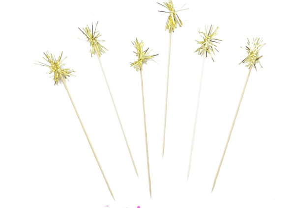 GOLD TINSEL COCKTAIL PICKS