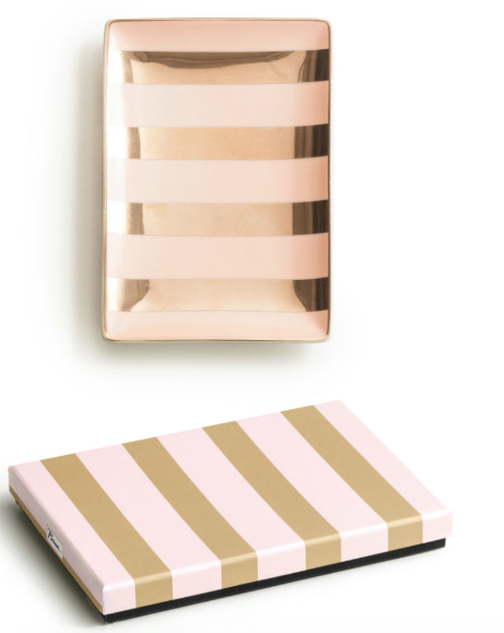 LADIES CHOICE PINK AND GOLD STRIPED TRAY