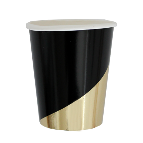 BLACK & GOLD COLORBLOCK PAPER CUP - Bonjour F'éte