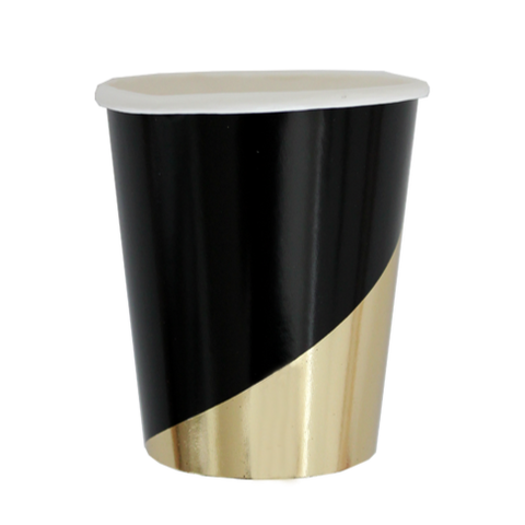BLACK & GOLD COLORBLOCK PAPER CUP