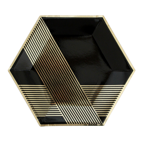 NOIR BLACK GOLD STRIPES LARGE PLATE