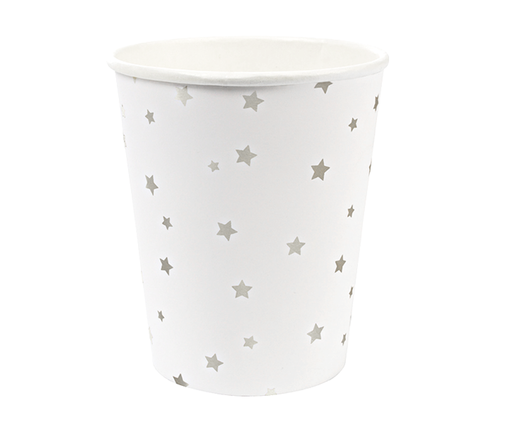 TOOT SWEET SILVER STARS PAPER CUPS - Bonjour Fête