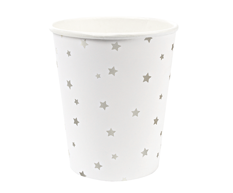 TOOT SWEET SILVER STARS PAPER CUPS