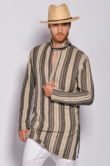 Men Linen Stripes Ara Tunic