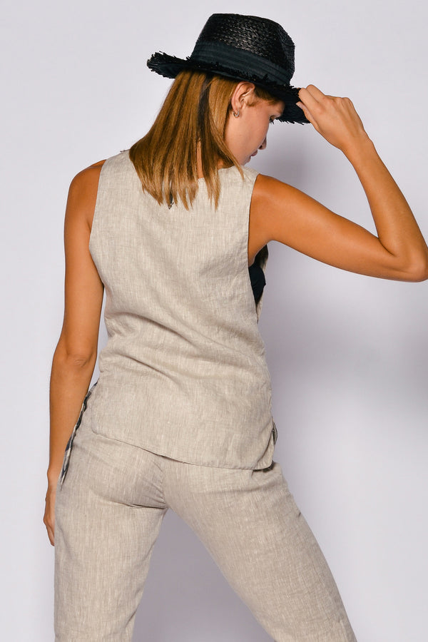 Pure Linen Women Sleeveless Castello Top