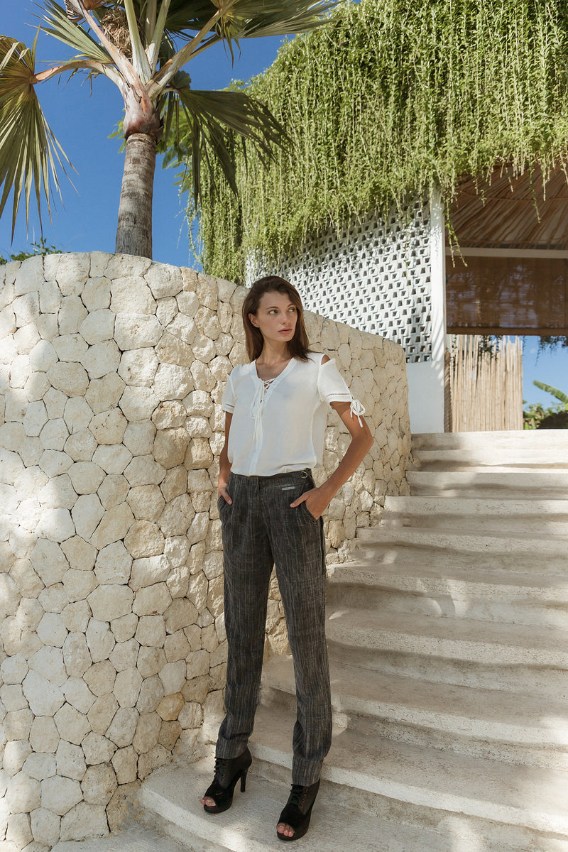 Washed Out Textured Cotton Malawi Long Pant