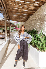 Plaid Pure Linen Women Pisano Top
