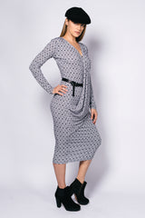 Printed Long Sleeve Andrea Long Dress