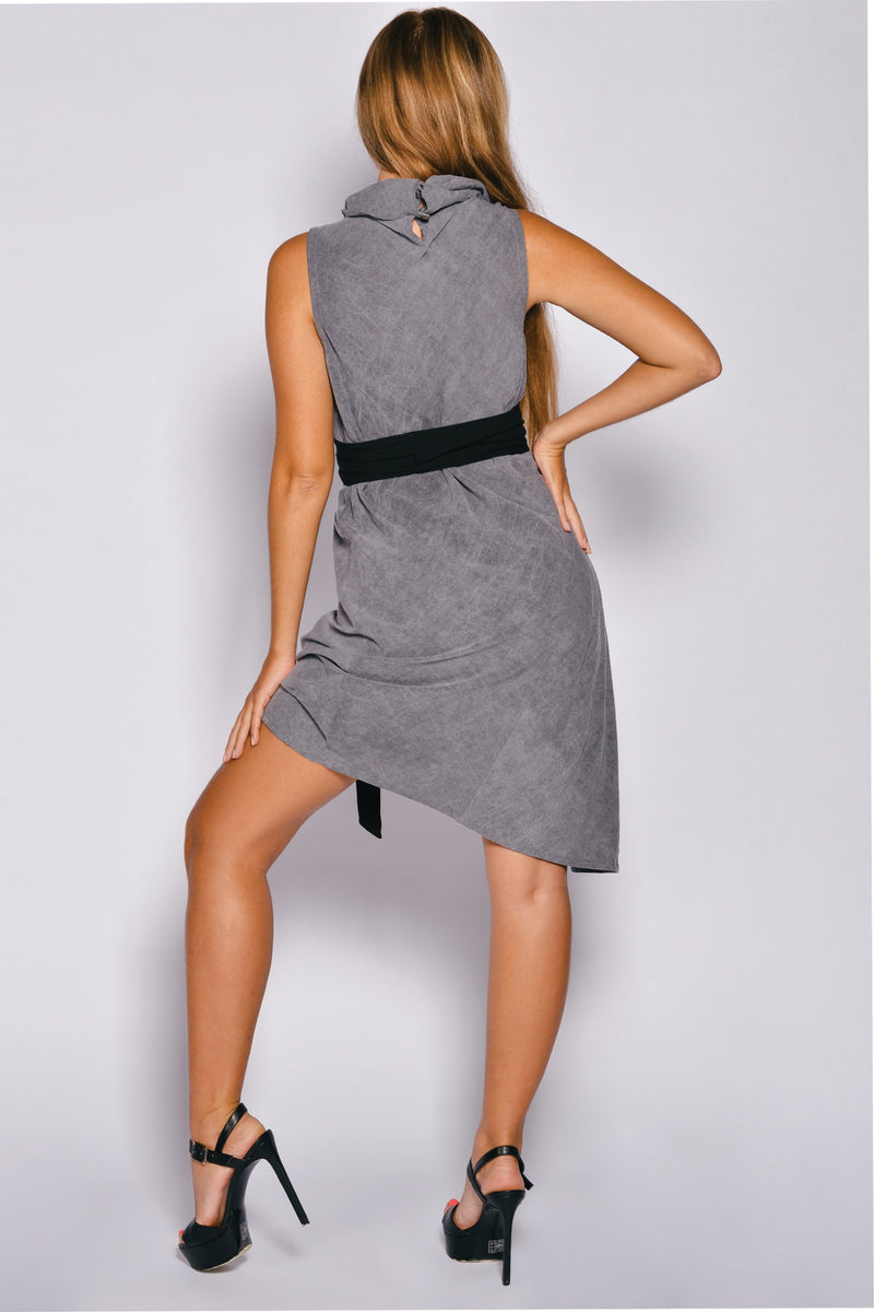 Washed Out Sleeveless Cowl Neck Dafne Dress