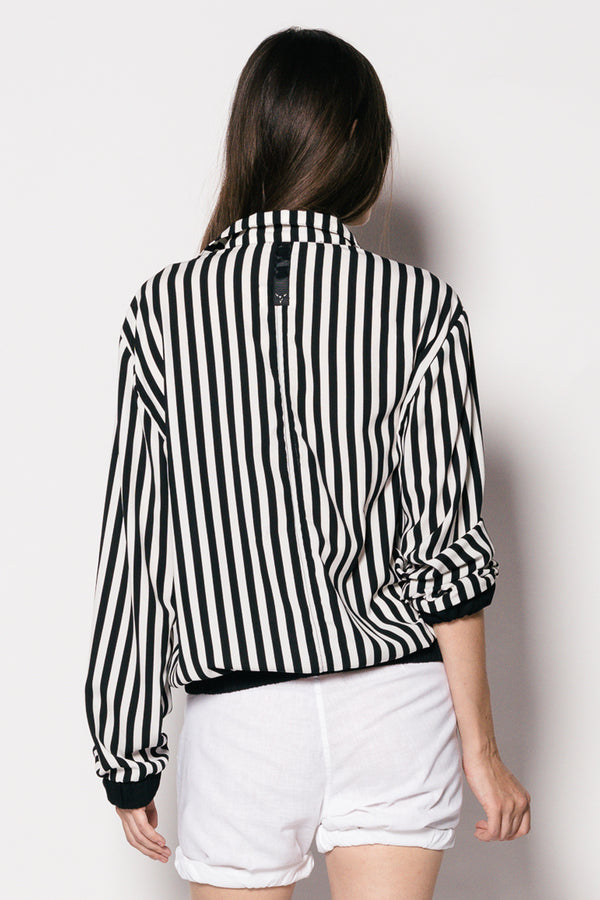Women Cotton Long Sleeve Stripe Yuan Shirt