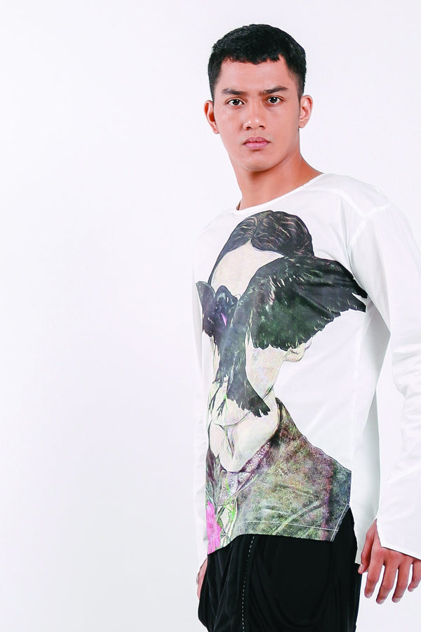 Printed Cotton Men Bird Shirt