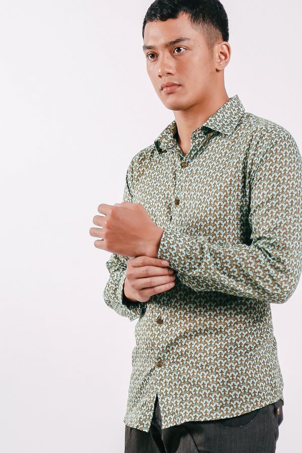 Printed Light Cotton Longsleeve Warna Shirt