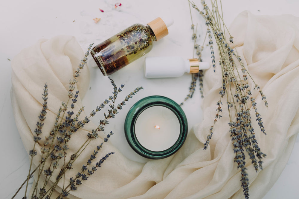 Eco-friendly skincare and candle