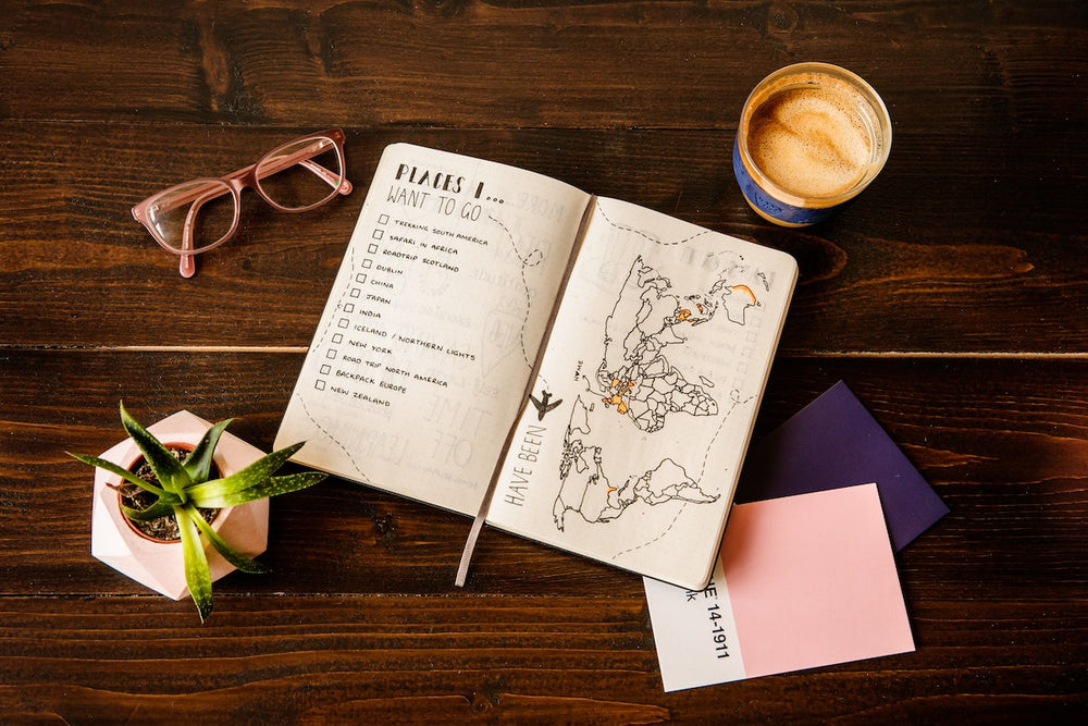 Travel journal, glasses, and candle