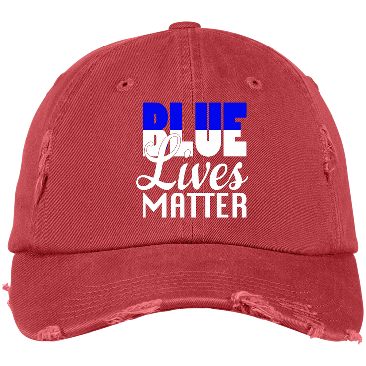 Blue Lives Matter BW Distressed Dad Cap