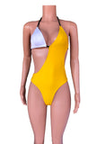 Colorblock high cut swimsuit
