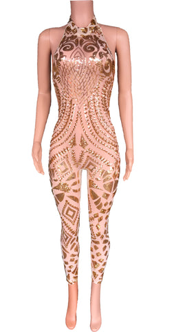 gold sequins jumpsuit