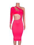cut out midi length bodycon dress