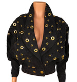 black denim batwing jacket with grommets