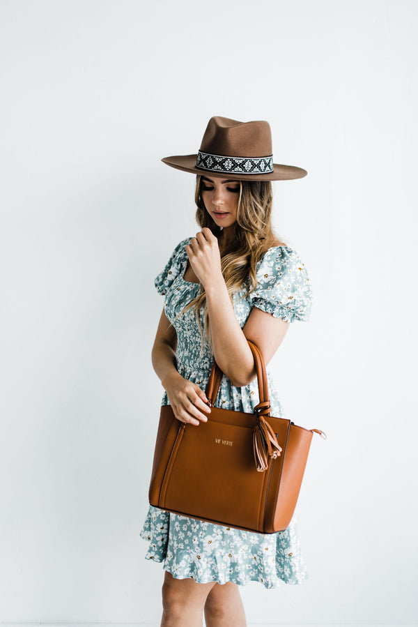 brown leather women's tote
