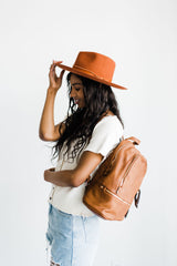 Women's brown leather diaper bag