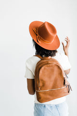 Brown leather backpack women's