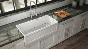 "Fira Undermount Apron front Fireclay Kitchen Sink, 30"" x 19"" x 11-1/2"""