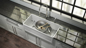 "Fira Undermount Apron front Fireclay Kitchen Sink, 33"" x 19"" x 11-1/2"""