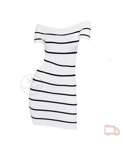 Anissa - Off the Shoulder Low Cut Dress (White/Black)